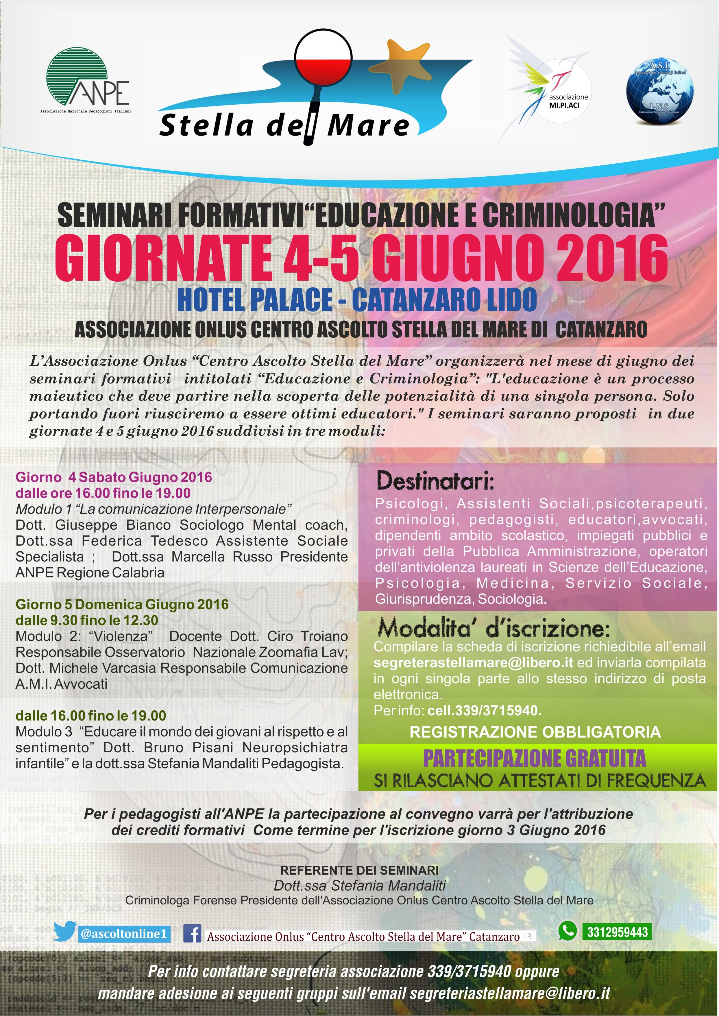 Seminari formativi educazione e criminologia stefania for Societa italiana di criminologia